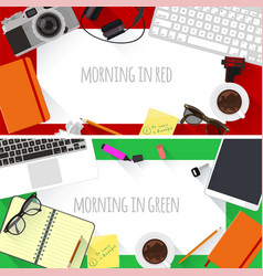 flat design creative workplace vector image vector image