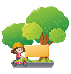 girl riding bike in the park vector image