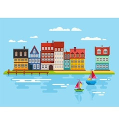 Harbor Waterfront with Boats on River vector image vector image