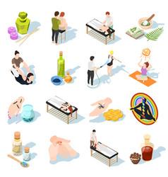 alternative medicine isometric icons vector image