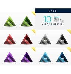 Collection of glass triangle web boxes vector image vector image