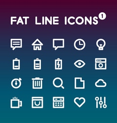 Fat Line Icons set 1 vector image vector image