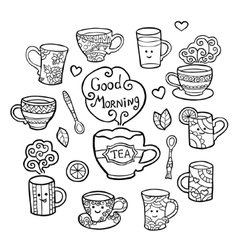 Monochrome set with tea accessories isolated on vector image vector image