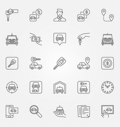 rent a car icons set vector image vector image