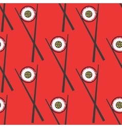 Sushi and chopsticks seamless pattern vector image vector image
