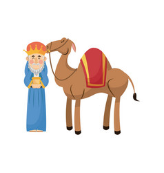 christmas wise king with camel traditional vector image