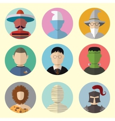 Set of Circle Icons Characters From Fairy Tales vector image