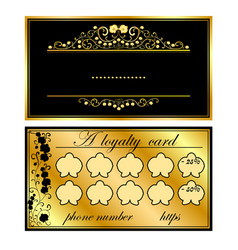 two business cards with gold orchids vector image