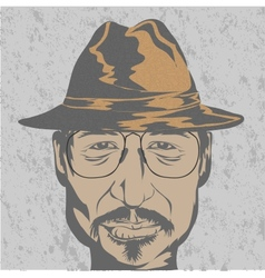 Young man in hat and glasses vector image vector image
