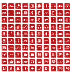 100 audio icons set grunge red vector