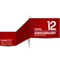 12 years anniversary design with red and white vector