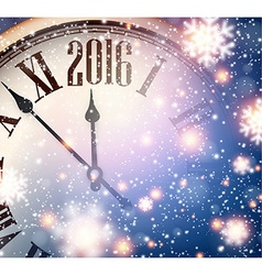 2016 new year clock with snowy background vector