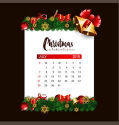 2019 july calendar design template of christmas vector image