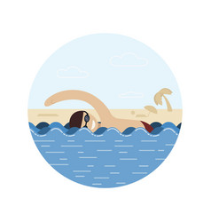a man swims a swimmer in the water a man in the vector image