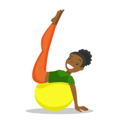African-american woman exercising with fit ball vector