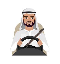 Arab man driving a car arab man clothing in vector