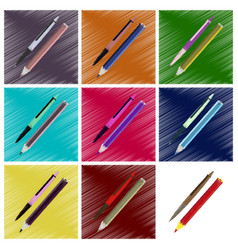 Assembly flat shading style icons pen and pencil vector