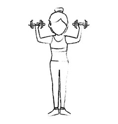 Athletic woman lifting weights vector