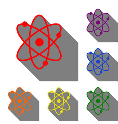 atom sign set of red orange yellow vector image