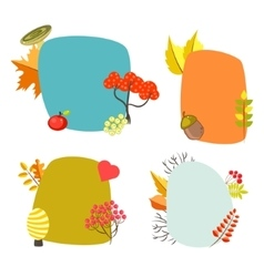 Autumn card templates with foliage decorative vector