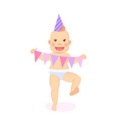 Baby milestones celebrate first birthday party vector