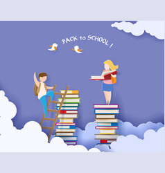 Back to school card with boy and books vector