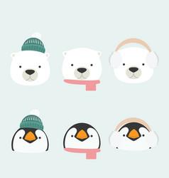 bapenguin and bear accessory set vector image