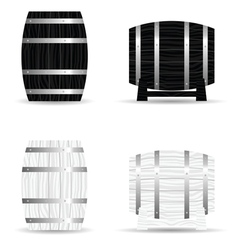 Barrel wooden set icon vector