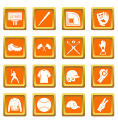 Baseball icons set orange vector