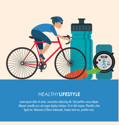 bike racing male cartoon healthy lifestyle icon vector image