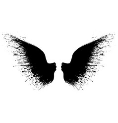 black grunge wings one vector image
