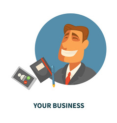 business finance businessman with organizer and vector image