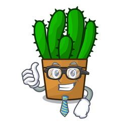 businessman character spurge cactus home decor vector image