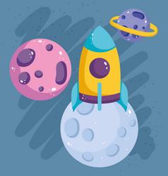 Cartoon flying rocket and planets solar system vector