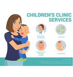 children clinic services flat vector image