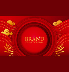 chinese paper cut brand banner template on red vector image