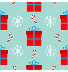 Christmas gift box with bow snowflake red and vector image