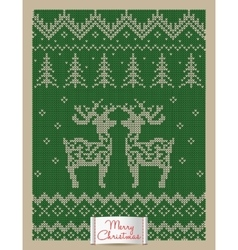 Christmas greeting card with knitted deers vector