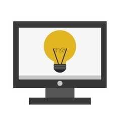 computer monitor lightbulb vector image