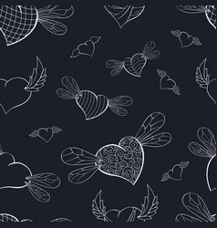 Contour winged valentines on a dark blue vector