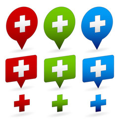 Crosses on different shapes first-aid healthcare vector
