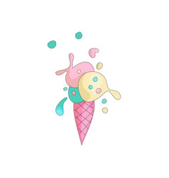 cute sweet colored ice cream with pink cartoon vector image