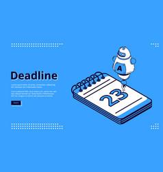 deadline time management isometric landing page vector image
