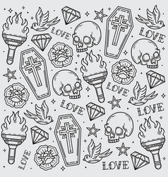 Design pattern old school flash tattoo vector