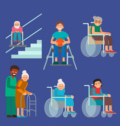 Disabled handicapped diverse people vector