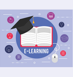 Elearning education book with graduation cap vector