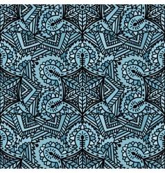 Ethnic handmade decorative blue seamless pattern vector image