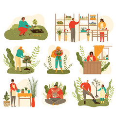 farming and gardening harvest set people at vector image