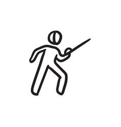 Fencing sketch icon vector