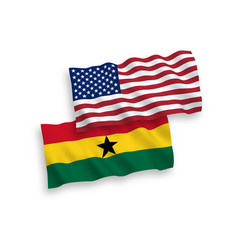 Flags ghana and america on a white background vector